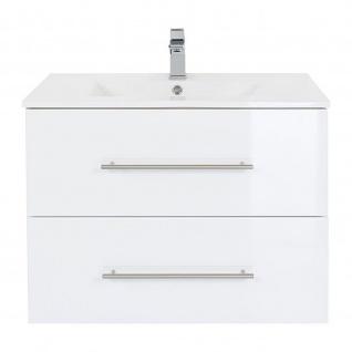 Badmöbel Waschplatz Waschbecken HOMELINE 80cm mit Unterschrank weiß Hochglanz