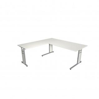 Kerkmann Schreibtisch 4096 Form 4 180x80 x mit C-Fuß-Gestell und Anbautisch - Vorschau 3