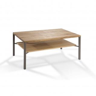 Massivholz Couchtisch System Config Pro Asteiche/Metall mit Ablageboden 90x60x46cm