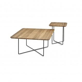 Massivholz Couchtisch System Soft Quadrat Asteiche/Metall 85x85x43cm