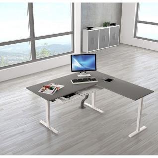 Kerkmann Stehtisch Schreibtisch MOVE 2 180x80x72-120 cm mit Anbautisch 100x60x72-120 cm C-Fuß-Gestell alusilber verschiedene Dekore