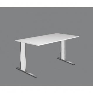 Schreibtisch Aveto Edelstahl 160x80 cm C-Fuß