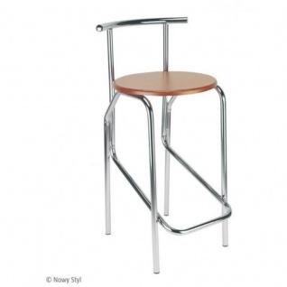 Design Barhocker Jola Hocker Wood CR Sitzhöhe 75 cm, verchromt Holzsitz
