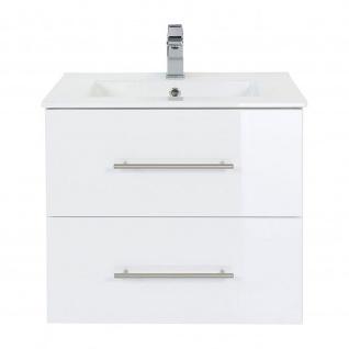 Badmöbel Waschplatz Waschbecken HOMELINE 60cm mit Unterschrank weiß Hochglanz