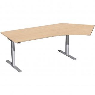 Elektro Flex Winkel-Schreibtisch 135° rechts oder links elektrisch höhenverstellbar 2166 x1130 mm diverse Dekore - Vorschau 2