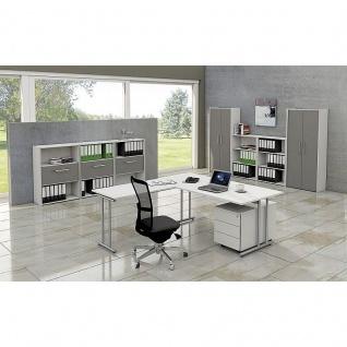 Kerkmann Schreibtisch 4365 START UP 160x80x75cm mit Anbautisch 100x60x75cm C-Fuß-Gestell alusilber inkl. Kabelkanal verschiedene Dekore