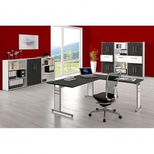 Kerkmann Schreibtisch 4100 Form 4 120x80 cm C-Fuß Alusilber Applikationen Typ C - Vorschau 2