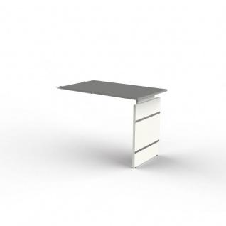 Anbautisch zum Schreibtisch Form 4 100x60x68-76 cm Wangen-Gestell Alusilber Applikationen Typ A