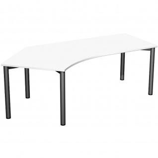 Gera Winkel-Schreibtisch 4 Fuß Flex 135° links 2166x1130mm ahorn buche lichtgrau weiß - Vorschau 3