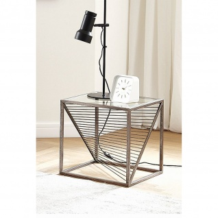 Beistelltisch Couchtisch Glastisch antik bronze 45x45x45cm