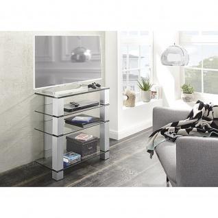 Maja TV-Rack Metall Alu - Klarglas Maße: 700 x 770 x 500 mm