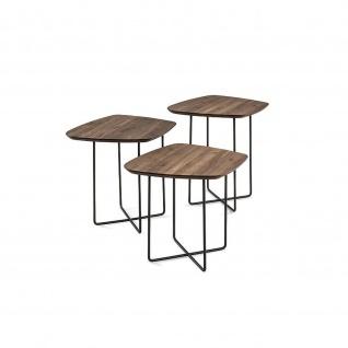 Massivholz Couchtisch Beistelltisch System Soft Freiform Nussbaum/Metall 50x50x58cm