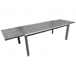 Großer Gartentisch Ausziehtisch Aluminium silber/dunkelgrau 200/300x104x75cm