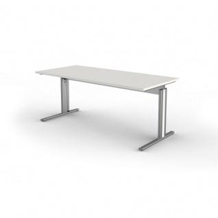 Schreibtisch Form 4, 180x80x68-82 cm C-Fuß-Gestell Typ B höhenverstellbar