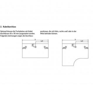 Konferenztisch Bürotisch E10 Toro Rundrohrgestell höheneinstellbar Alu, weiß, dkl.grau schwarz - Vorschau 5