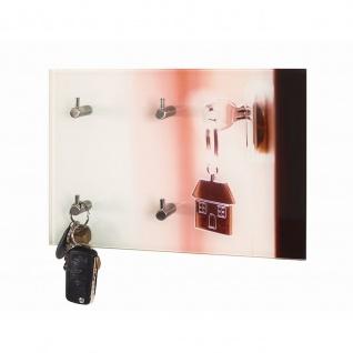 Schlüsselbrett Schlüsselboard Motiv Schlüssel Sicherheitsglas mit Printmotiv 4 Haken Edelstahllook