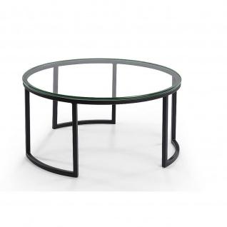 Moderner Couchtisch Beistelltisch Metall/Klarglas Tischplatte rund D:60cm