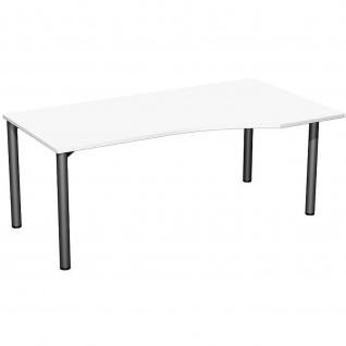 Gera PC-Schreibtisch Bürotisch 4 Fuß Flex Freiform rechts 1800x800/1000mm ahorn buche lichtgrau weiß - Vorschau 4