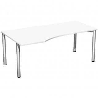 Gera PC-Schreibtisch Bürotisch 4 Fuß Flex Freiform links 1800x800/1000mm ahorn buche lichtgrau weiß - Vorschau 4
