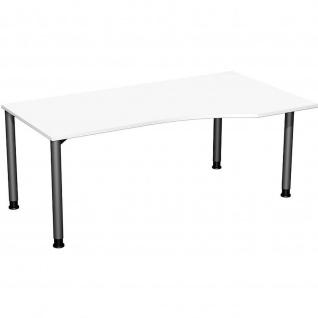 Gera PC-Schreibtisch Bürotisch 4 Fuß Flex Freiform rechts höhenverstellbar 1800x800/1000x680-800mm ahorn buche lichtgrau weiß - Vorschau 3