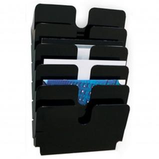 Wand Prospekthalter Set FLEXIPLUS 6, A4 Querformat 6 Fächer schwarz