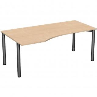 Gera PC-Schreibtisch Bürotisch 4 Fuß Flex Freiform links 1800x800/1000mm ahorn buche lichtgrau weiß - Vorschau 5
