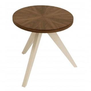 Beistelltisch Tisch Tablet Holz Nußbaumfurnier, Weiß
