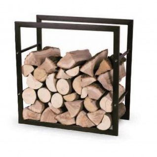 Brennholzregal Holzkorb Kamin R123 aus Metall in Schwarz