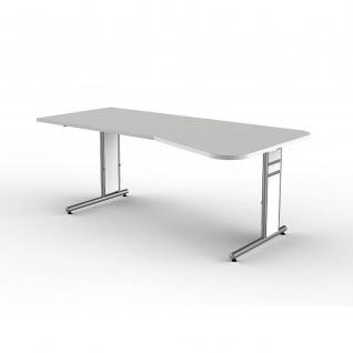 Schreibtisch Freiformtisch Form 4 195x80/100 cm C-Fuß Alusilber Applikationen Typ C - Vorschau 3