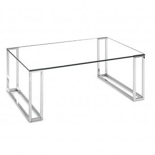Moderner Couchtisch System Frame Klarglas/Metall verchromt 110x70x44cm
