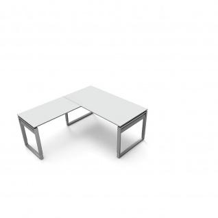 Kerkmann Schreibtisch 4038 Form 5 160x80x68-82 cm Bügel-Gestell höhenverstellbar mit Anbautisch - Vorschau 3