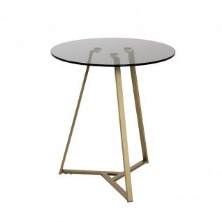Beistelltisch Couchtisch Metall gold / Grauglas