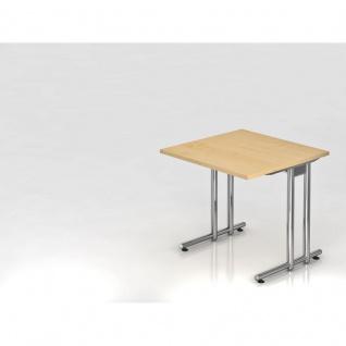 Büro Schreibtisch 80x80 cm Modell NS08C mit Chromfüßen