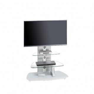 TV-Rack, Metall Alu - Schwarzglas oder Weißglas, 90 x 128, 8 x 54, 3 cm