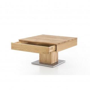 Woodlive Massivholz Couchtisch Alan mit Schubkasten Kernbuche/Wildeiche Maße 75 x 75 cm - Vorschau 3