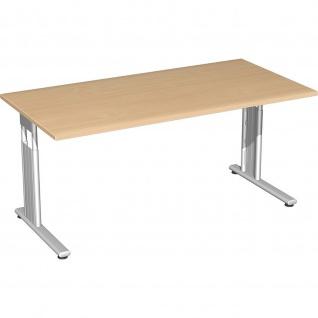 Gera Schreibtisch Bürotisch C Fuß Flex höhenverstellbar 1600x800x680-820mm ahorn buche lichtgrau weiß - Vorschau 4