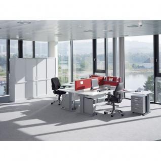 Schreibtisch Bürotisch E10 Toro Tiefe 80 cm C-Fuß-Gestell Stahltraverse als Kabelkanal höheneinstellbar