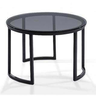 Moderner Couchtisch Metall/Rauchglas Tischplatte rund D:80cm