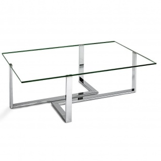 Moderner Couchtisch Metall verchromt/Klarglas 120x80x41cm