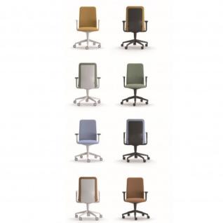 Kastel Drehstuhl Bürodrehstuhl Chefsessel Kappa drehbar und höhenverstellbar braun mit festen Armlehnen weiß mit Lumbalstütze