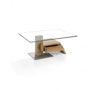 Massivholz Couchtisch Asteiche/Klarglas mit Schublade 100x70x42cm