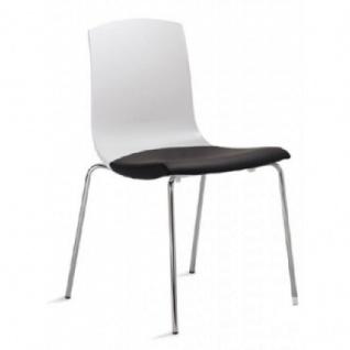Mayer Stuhl MODERNSTYLE 2124 Rücken Kunststoff weiß/Sitz gepolstert verchromt
