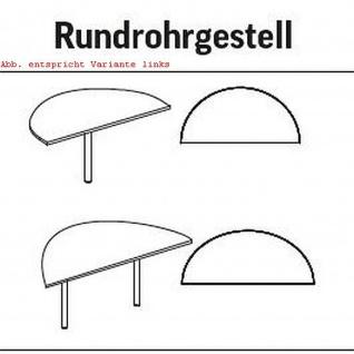 Anbautisch Halbkreis Konferenztisch Schreibtisch E10 Toro Rundrohrgestell H:740 mm Alu, weiß, dkl.grau schwarz - Vorschau 3