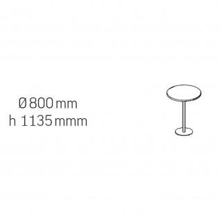 Konferenztisch Bürotisch Beistelltisch StehtischTellerfuß H:1135 mm D:800 mm Alu oder verchromt - Vorschau 4