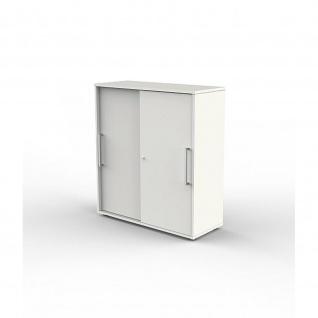 Kerkmann Schiebetürenregal 4491 Büroregal Form 4 Start up weiß 3 Ordnerhöhen abschließbar 100 x 40 x 111 cm
