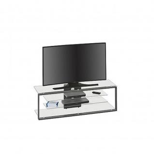 TV Rack, TV Möbel, Metall anthrazit - Klarglas, 1300 x 420 x 400 mm