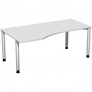 Gera PC-Schreibtisch Bürotisch 4 Fuß Flex Freiform links höhenverstellbar 1800x800/1000x680-800 mm ahorn buche lichtgrau weiß - Vorschau 3