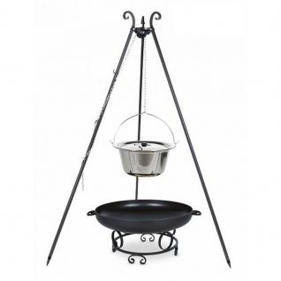 Outdoor Grill mit Feuerschale Pan 43, Dreibein, Kessel Edelstahl verschiedene Größen