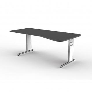 Schreibtisch Freiformtisch Form 4 195x80/100 cm C-Fuß Alusilber Applikationen Typ C - Vorschau 2