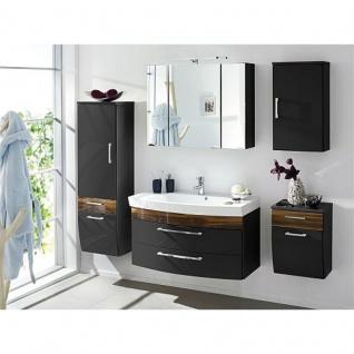 Badmöbel Badezimmer Rima 5-teilig, komplett, anthrazit - walnuss Nb.Hochglanz MDF-Fronten